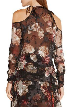 PREEN by THORNTON BREGAZZI Alva cutout devoré silk-blend chiffon blouse