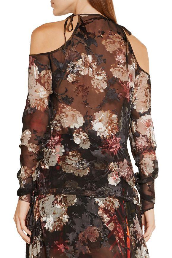 Alva cutout devoré silk-blend chiffon blouse   PREEN by THORNTON BREGAZZI    Sale up to 70% off   THE OUTNET