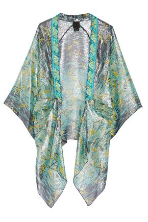 ANNA SUI Embroidered printed silk-blend kimono
