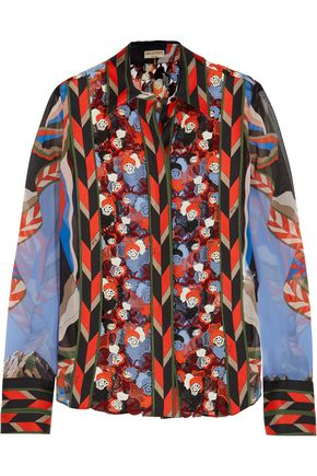 EMILIO PUCCI Printed silk-chiffon and macramé lace blouse