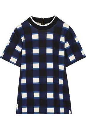 MARNI Gingham neoprene peplum top
