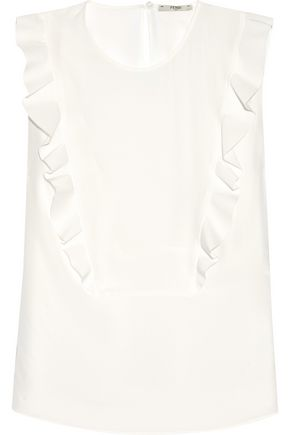 FENDI Ruffled silk-georgette blouse