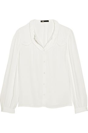 MAJE Ruffled crepe blouse