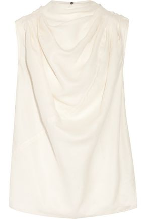 RICK OWENS Draped silk and wool-blend blouse