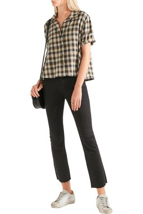 THE GREAT. The Bias cropped checked cotton shirt