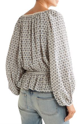 TALITHA Gia off-the-shoulder printed silk crepe de chine top
