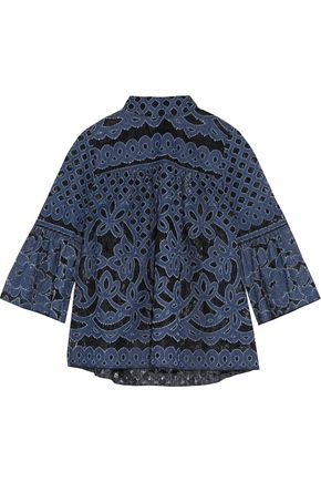 ANNA SUI Denim-appliquéd lace top