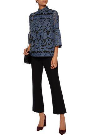 ANNA SUI Denim-appliquéd lace top