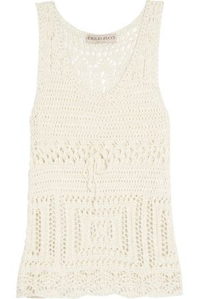 EMILIO PUCCI Open-knit cotton tank