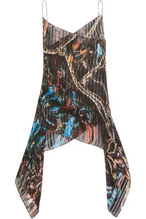 EMILIO PUCCI Wrap-effect printed plissé silk-chiffon top