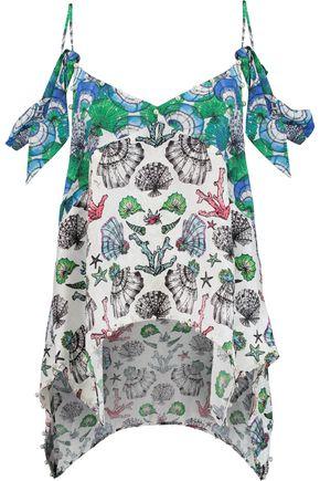 EMILIO PUCCI Embellished printed silk-jacquard top