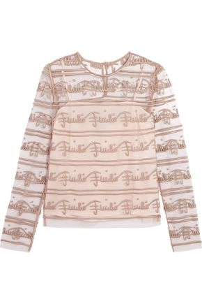 EMILIO PUCCI Embroidered tulle top