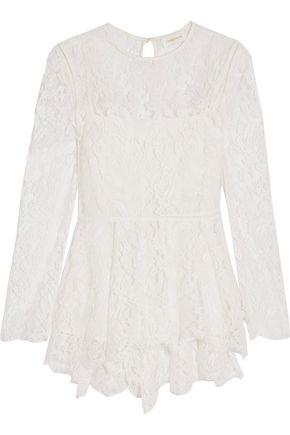 ZIMMERMANN Chantilly lace cotton-blend peplum blouse