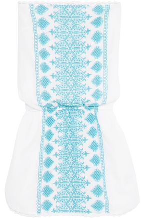 MELISSA ODABASH Amber crochet-trimmed broderie anglaise mini dress