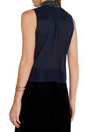 ALICE + OLIVIA Lorrie embellished chiffon top