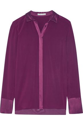 ALICE + OLIVIA Wyatt satin-trimmed silk-blend chiffon shirt