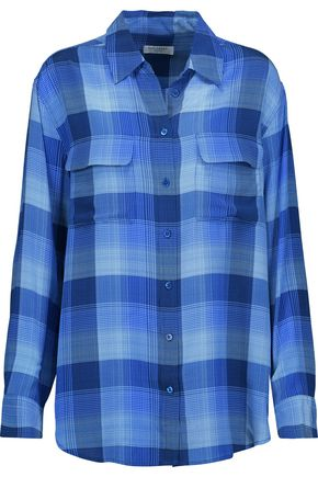 EQUIPMENT Checked washed-silk shirt