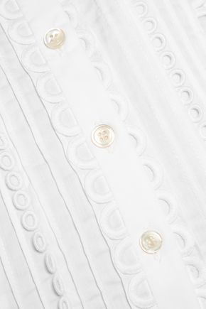MARISSA WEBB Marcy cropped crochet-trimmed cotton-poplin top