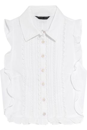 MARISSA WEBB Marcy cropped crochet-trimmed cotton-poplin top
