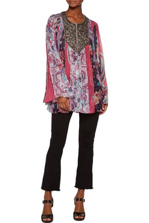 HAUTE HIPPIE Marisa embellished printed silk crepe de chine top