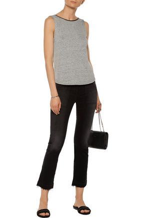 ALICE + OLIVIA Kassie leather-trimmed draped linen-blend top