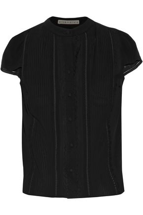 ALICE + OLIVIA Jaclyn lace-trimmed pintucked silk-blend blouse