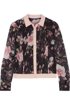 ALICE + OLIVIA Amalia cropped floral-print chiffon shirt
