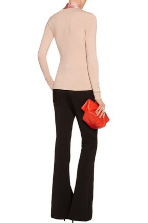 ALICE + OLIVIA Emmanuel silk-blend satin-trimmed knitted sweater