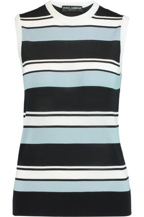 DOLCE & GABBANA Striped knitted silk tank