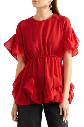GOEN.J Ruffled crepe top