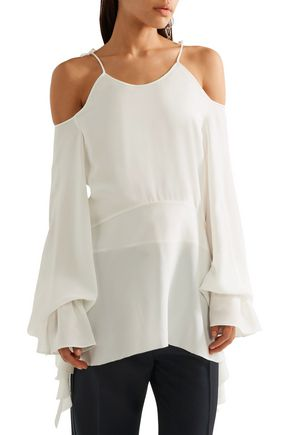 GOEN.J Asymmetric cold-shoulder ruffle-trimmed silk-chiffon top