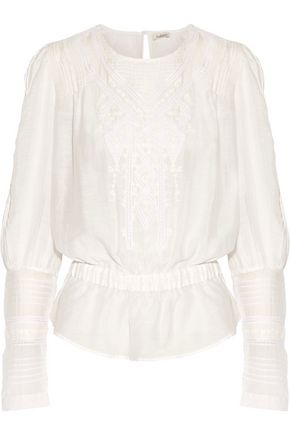 TALITHA Crochet-trimmed embroidered cotton and silk-blend blouse