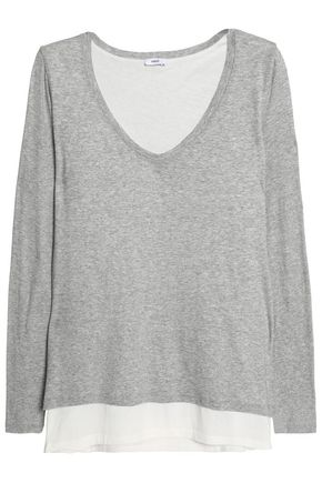VINCE. Two-tone layered Pima cotton and modal-blend top