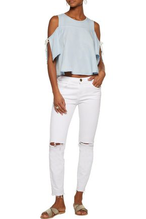 W118 by WALTER BAKER Sadie cold-shoulder washed-crepe de chine top