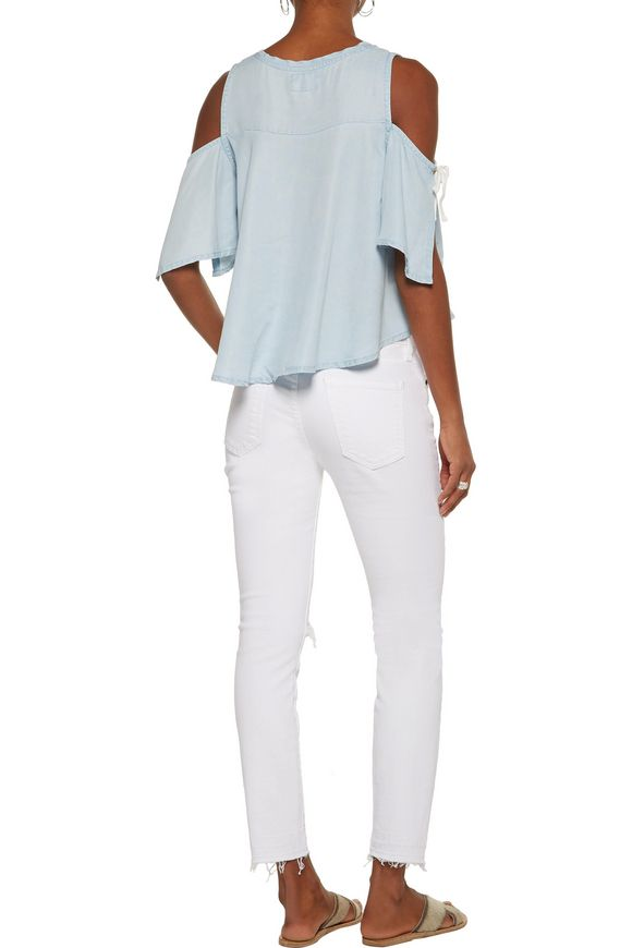 Sadie cold-shoulder washed-crepe de chine top   W118 by WALTER BAKER   Sale  up to 70% off   THE OUTNET