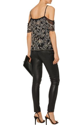 W118 by WALTER BAKER Marcus cold-shoulder embellished embroidered georgette top