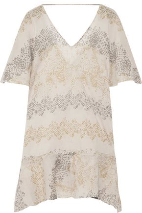 VIX Angel asymmetric printed cotton-broadcloth coverup