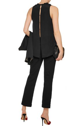 ALICE + OLIVIA Corine cutout silk top