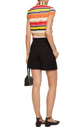 ALICE + OLIVIA Betsey pussy-bow striped silk-blend top