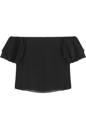 ALICE+OLIVIA Whit off-the-shoulder cropped ruffled stretch-silk top
