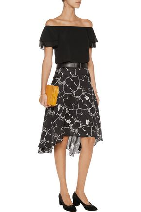 ALICE + OLIVIA Whit off-the-shoulder cropped ruffled stretch-silk top
