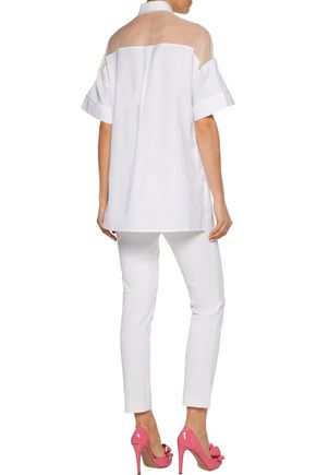 VALENTINO Silk organza-paneled cotton-poplin shirt
