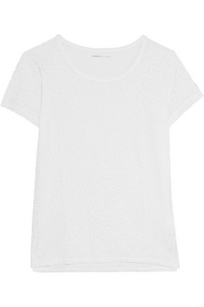 MAJESTIC Broderie anglaise cotton-voile and cotton-jersey T-shirt