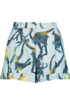 VALENTINO Printed silk-faille shorts
