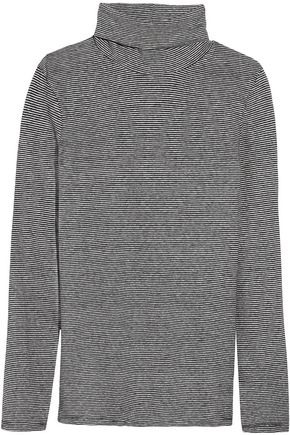 M.I.H JEANS Striped cotton and linen-blend turtleneck top
