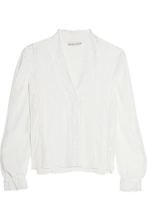 ALICE + OLIVIA Renesmee lace-paneled pliss&eacute-crepe and lace top
