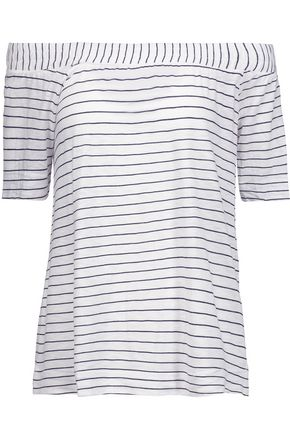 SPLENDID Off-the-shoulder striped stretch-jersey top