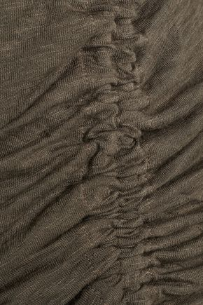 SPLENDID Henley ruched Supima cotton and Micro Modal-blend top