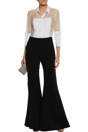 ALEXIS Watson pintucked corded lace and crepe shirt