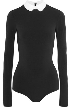 ALICE + OLIVIA Sascha collared stretch-knit bodysuit